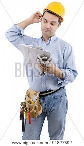 Manual worker with construction plan on hand over white background