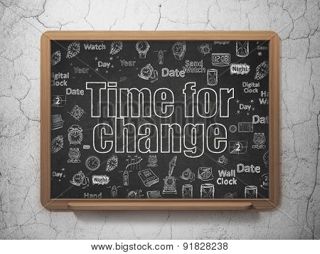 Timeline concept: Time for Change on School Board background