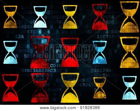 Time concept: Hourglass icons on Digital background