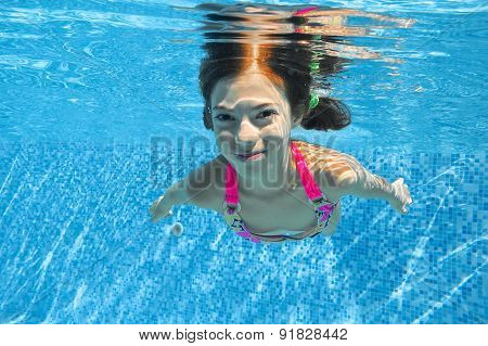 Child swims in swimming pool, playing and having fun, underwater and above view, kids sport
