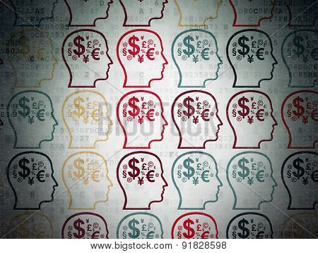 Marketing concept: Head With Finance Symbol icons on Digital Paper background