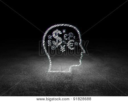 Advertising concept: Head With Finance Symbol in grunge dark room