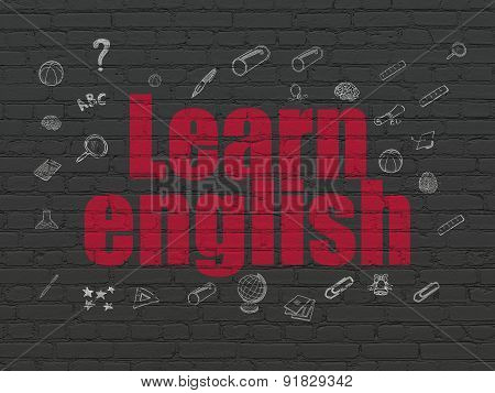 Education concept: Learn English on wall background