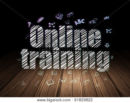 Learning concept: Online Training in grunge dark room