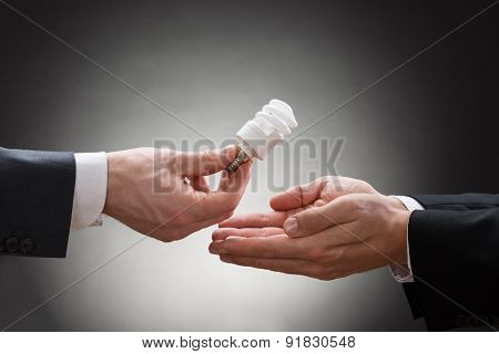 Businessperson Hand Offering Light Bulb To Other Businessperson