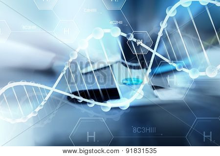 science, chemistry, biology, medicine and people concept - close up of scientist hand with test sample making research in clinical laboratory over hydrogen chemical formula and dna molecule structure