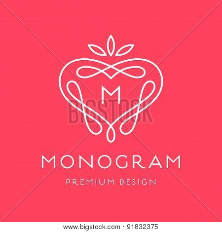 Simple line art monogram logo design