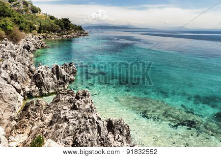 The small but delightful beach at Nissaki on the north-east coast of Corfu island, Greece