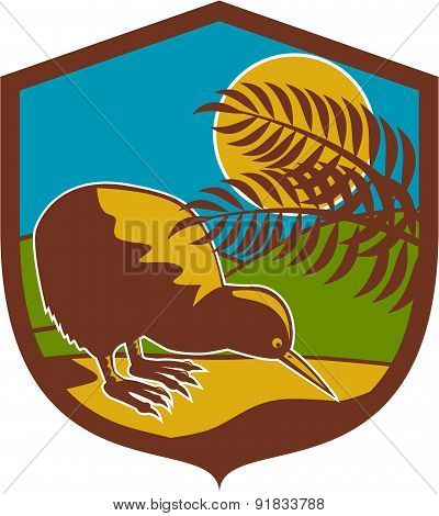 Kiwi Bird Moon Fern Mountain Shield Retro