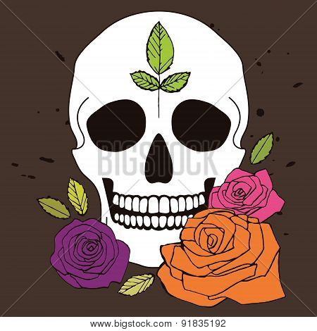 Simple Skull With Roses