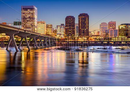 Richmond, Virginia, USA skyline on the James River.