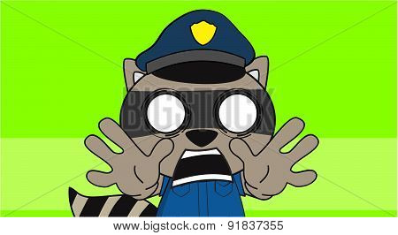 raccoon kid police cartoon background