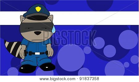 raccoon police cartoon card