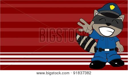 happy raccoon police cartoon background
