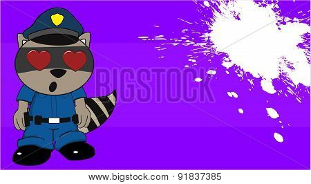 inlove raccoon police cartoon background
