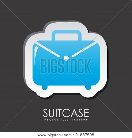 Suitcase icon over gray background with suitcase vector illustra