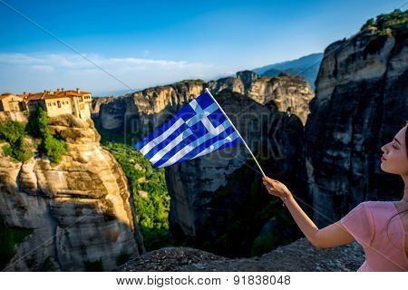 Woman with greek flag