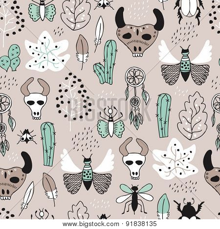 Seamless botanical western cowboy and indian feather skull garden ranch and cactus illustration background pattern in vector