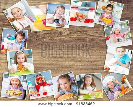 Frame photos  on a wooden board of pretty girl eating breakfast variety