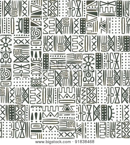 African ethnic seamless watercolor pattern, abstraction illustration.