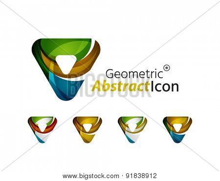 Set of abstract geometric company logo triangles, arrows. Vector illustration of universal shape concept made of various wave overlapping elements