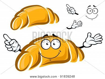 Happy freshly baked cartoon croissant charactr