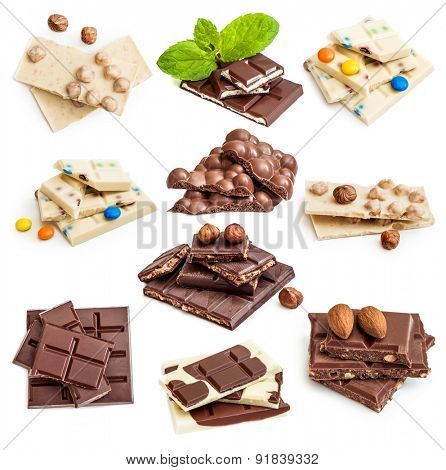 Photo collage of chocolate bars isolated on a white background