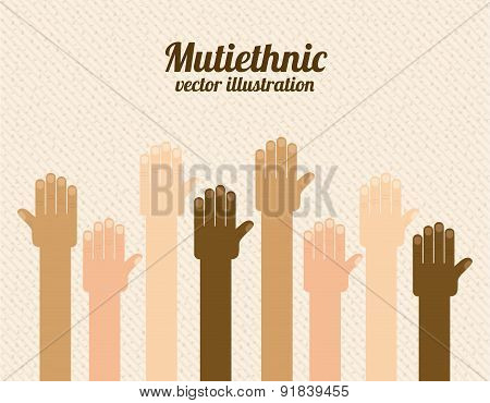 Multiethnic design over beige background vector illustration