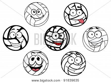 Funny cartoon white volleyball balls characters