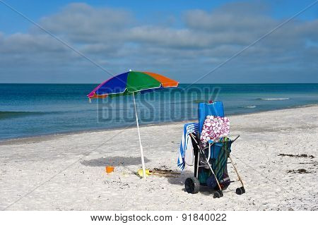 Beach Umbrella And Cart