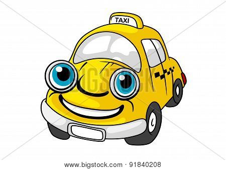 Cartoon yellow taxi car character
