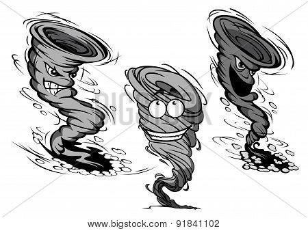 Furious cartoon tornado and hurricane characters