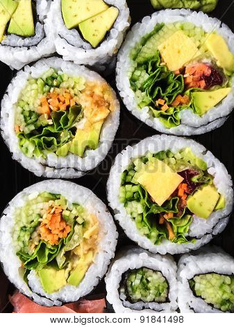 Vegetarian Sushi On Dark Background