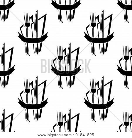 Seamless pattern of forks and knives