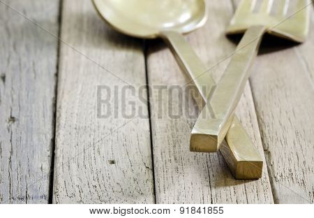 Brass Spoon And Fork