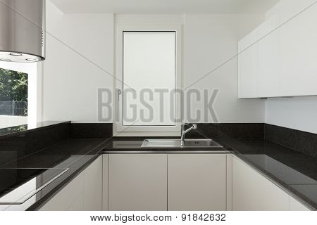 Interior, empty domestic kitchen of a modern apartment