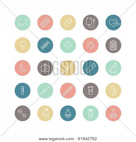 set of round colorful medical icons