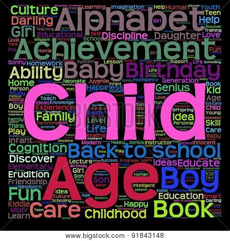 Vector concept or conceptual child education or family abstract word cloud isolated on black background