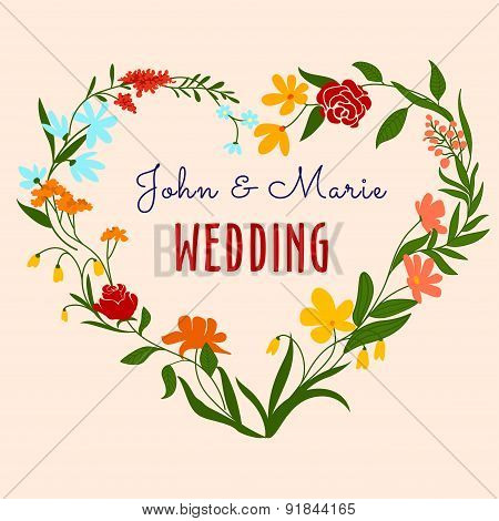 Wedding invitation with heart floral frame
