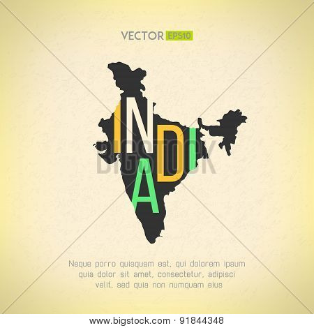 Vector India map in vintage design. Indian border on grunge background. Letters are not cut and easy