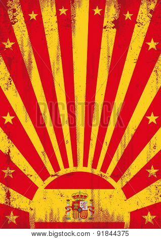 Spain vintage sunbeams. A vintage spanish poster with sunbeams and a texture for your advertising