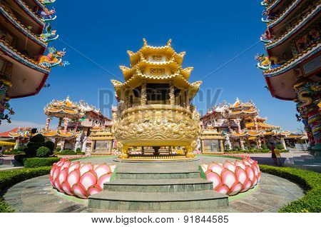 Naja Statue Of Chinese Shrine Temple, Chonburi, Thailand