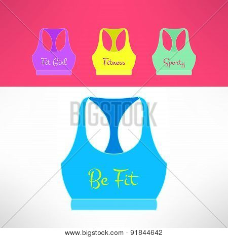 Vector tank top with printing in modern flat design. Sporty and fitness girl and women clothing. Tee