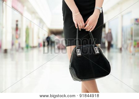 Young Woman With Suede Bag, Close Up