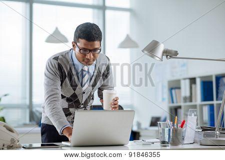 Looking at laptop screen