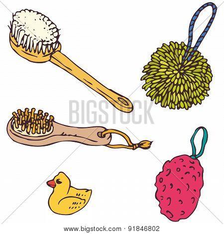 Bathroom Elements. Sponges, Washcloths and Brushes Set