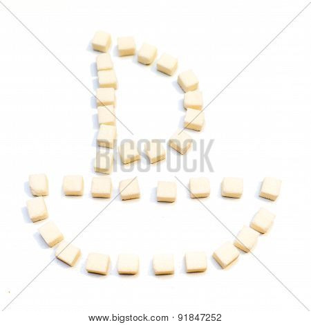 Shape Of Sail Boat Made From Sugar Cubes On White Background