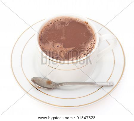 Cup Of Hot Chocolate With Spoon On White, Clipping Path Included