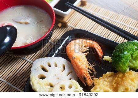 Chawanmushi traditional Japanese soup and tempura