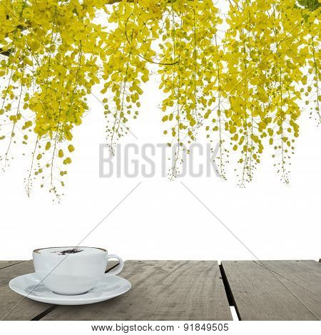Terrace Wood And Cappuccino Coffee With Beautiful Yellow Flower
